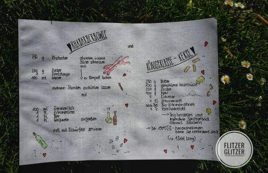 Das Bild zeigt das handschriftliche Rezept von der Rhabarberbowle und den Königsklasse Kekesen
