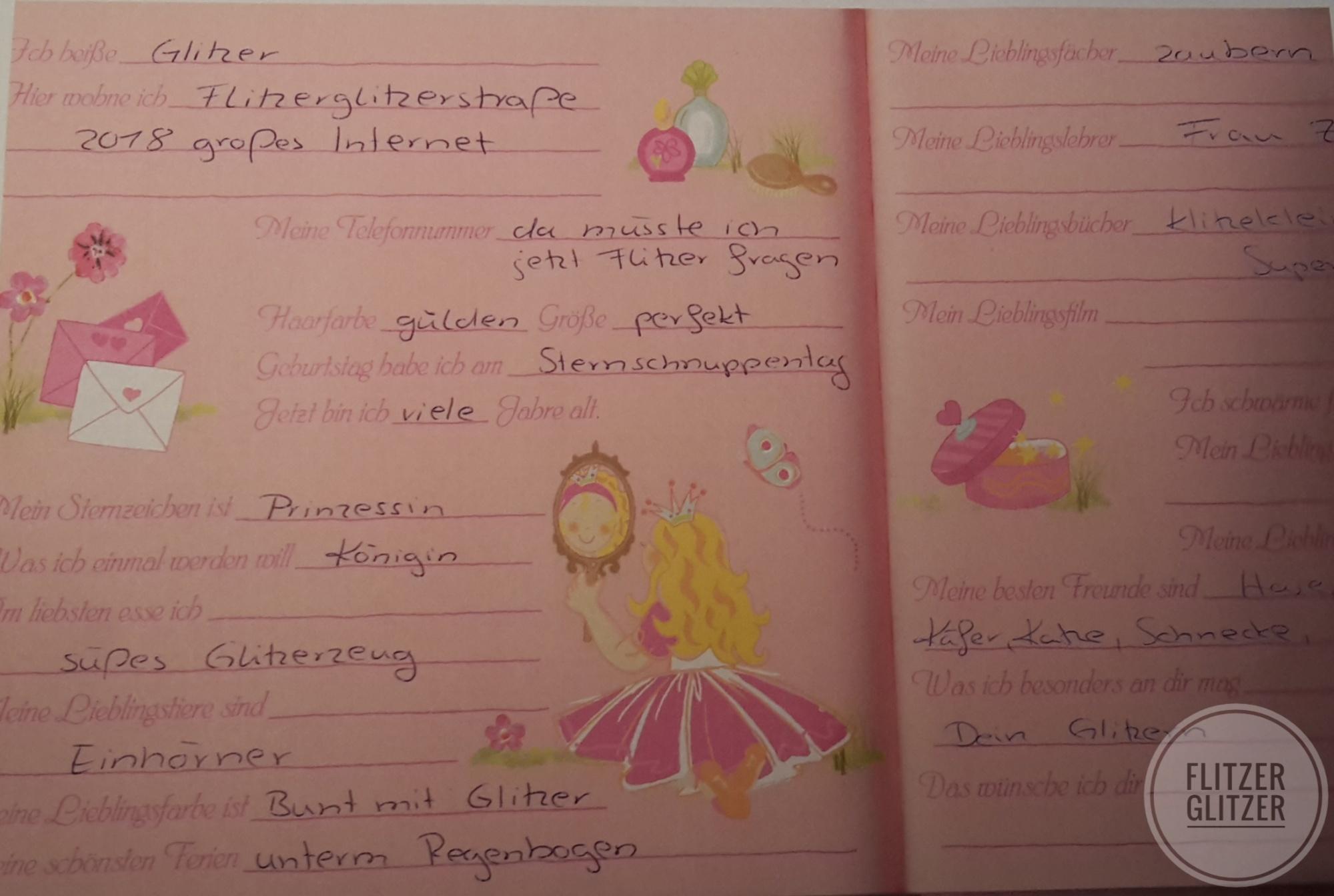 Prinzessinen Freundebuch ausgefüllt von Glitzer